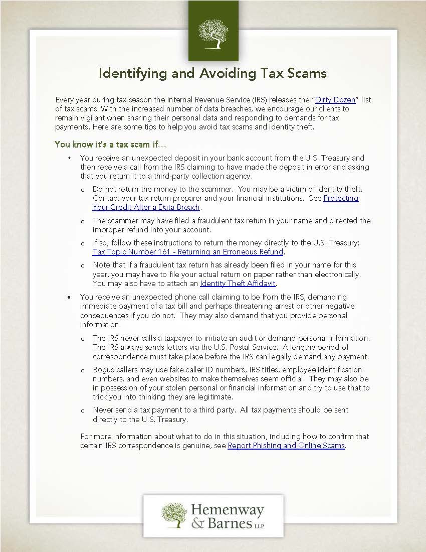 Identifying and Avoiding Tax Scams