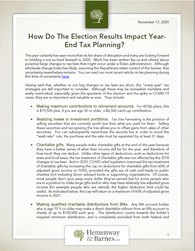 How Do Election Results Impact Year-End Tax Planning
