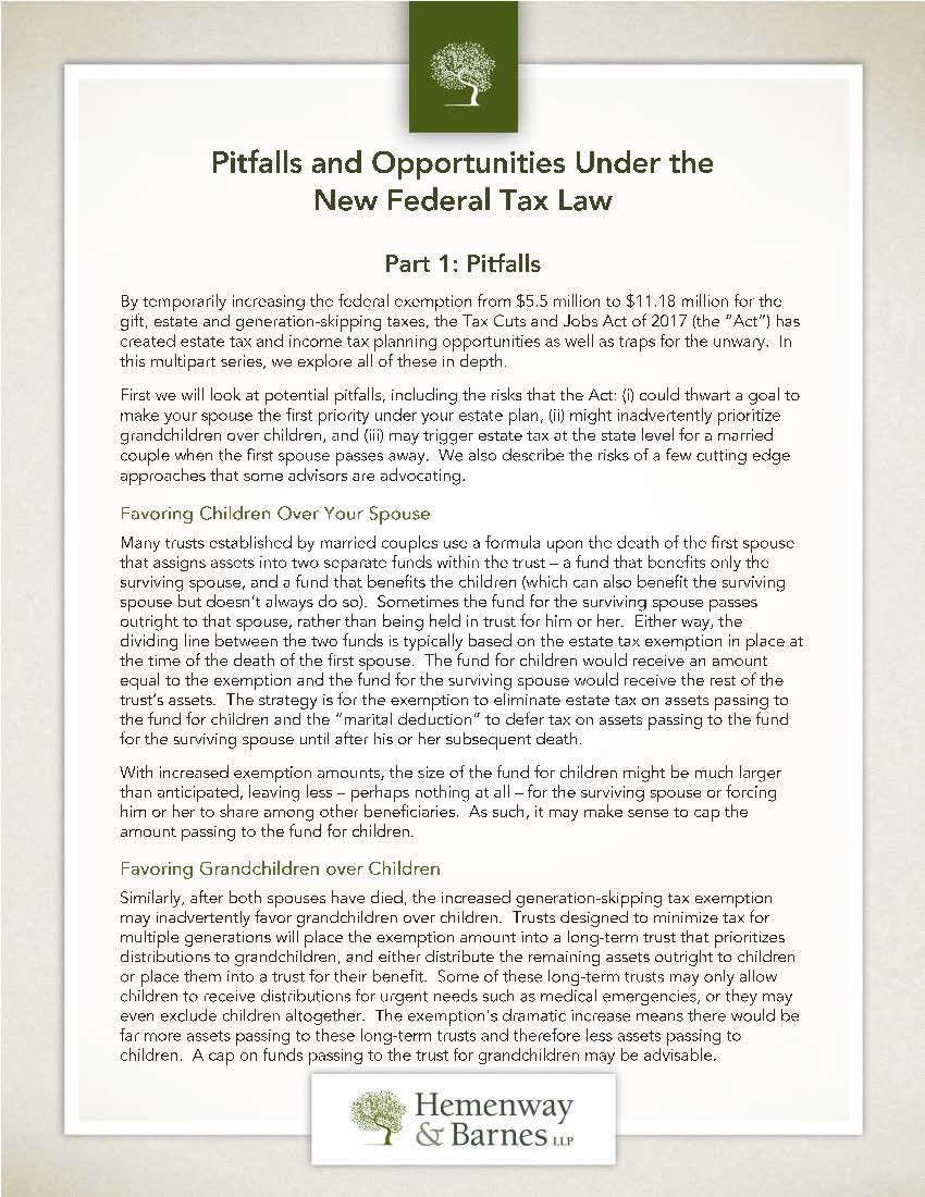 Pitfalls and Opportunities Under the New Federal Tax Law